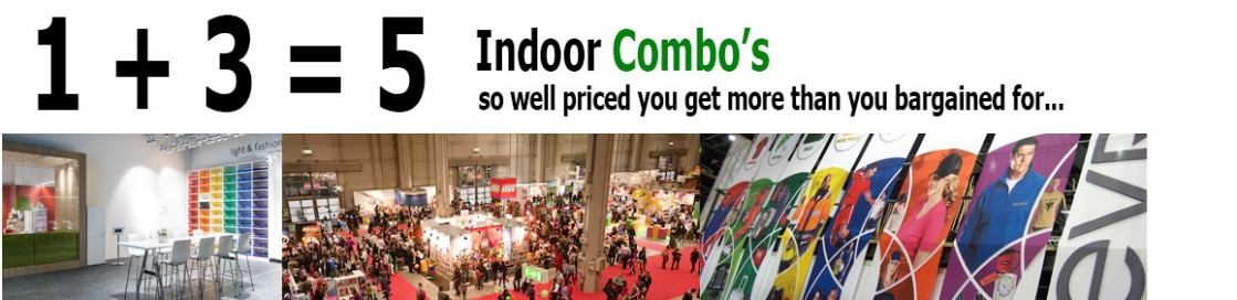Custom talored indoor banners and display deals sold to the trade and industry.